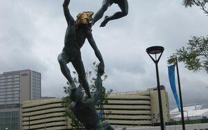 Athletes village statue