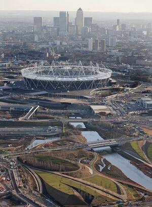 Aerial with stadium w